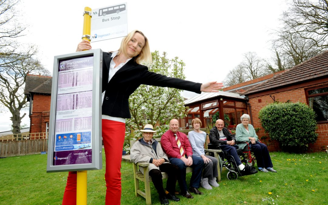 Replica bus stop donated to Lincoln care home